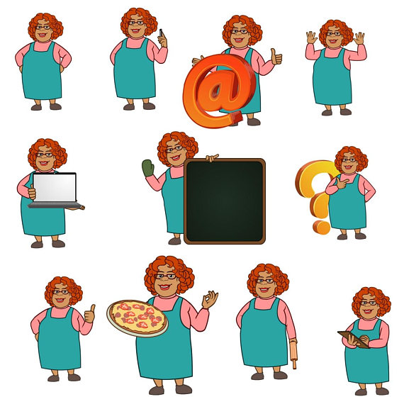 Aunt clipart get together. Mary chef baking character