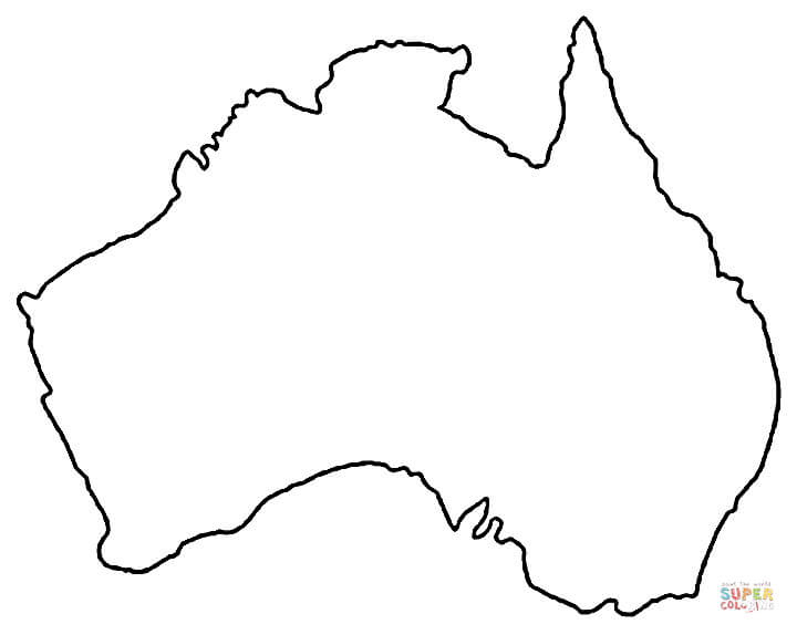 Australia clipart outline. Map of coloring page