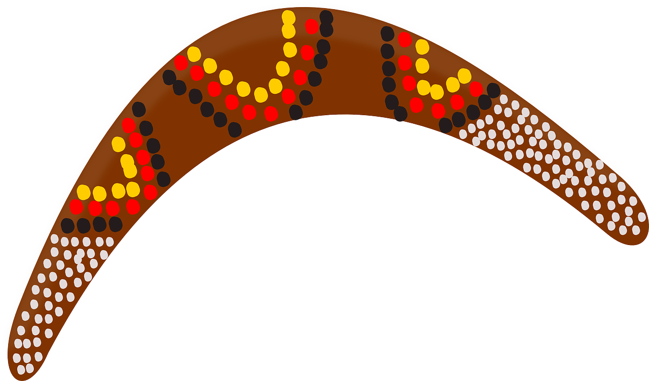 Boomerang drawing simple. Australia aboriginal wood toy