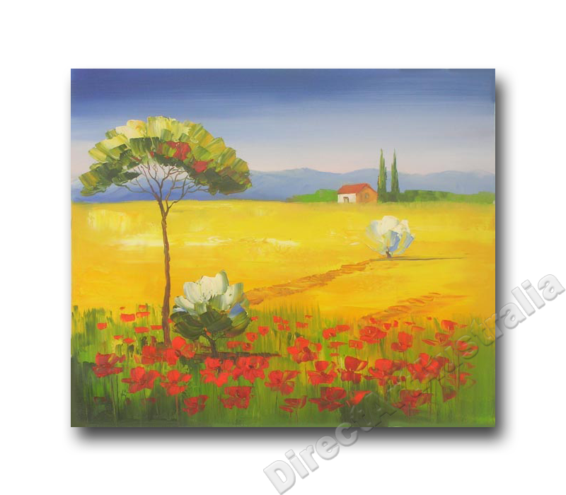 Australian drawing abstract landscape. Golden field cheap canvas