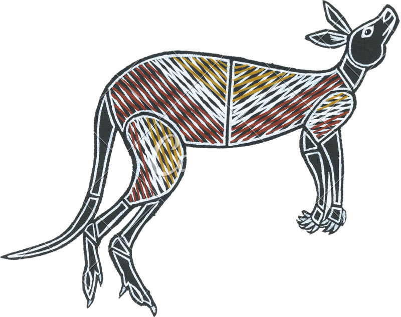 Drawing kangaroo wild animal. Australian aboriginal painting of