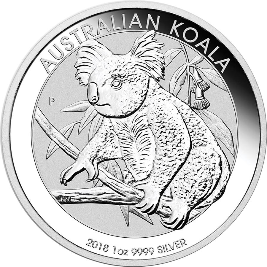 Australian drawing koala. Oz silver coin