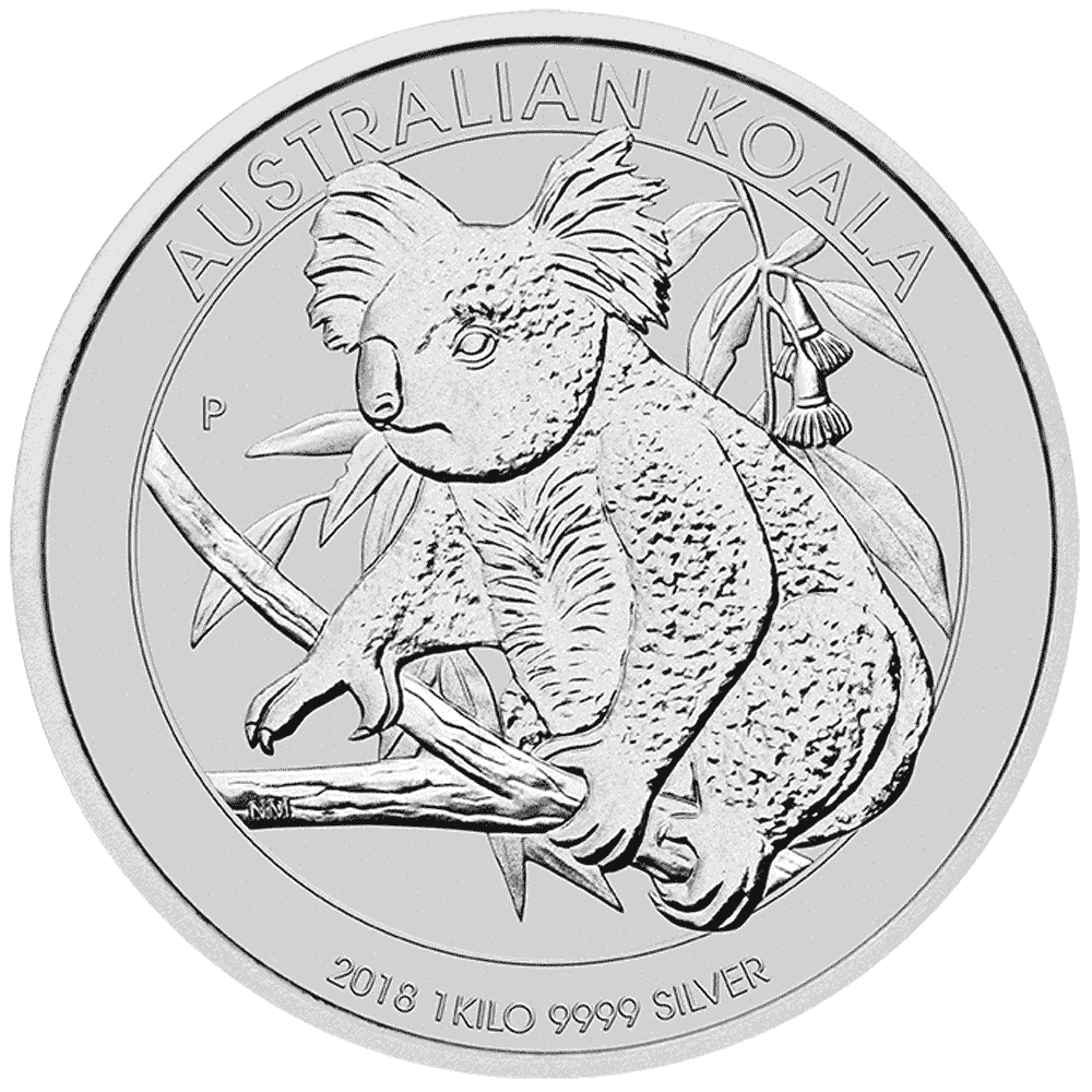 Australian drawing theme. Koala silver coin