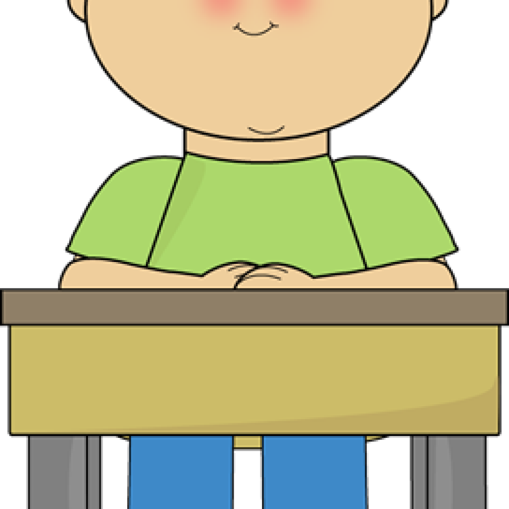 Author clipart desk. Student working at free