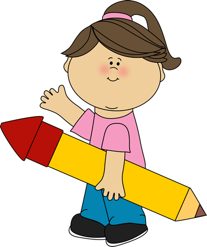 Writing clipart story writing. Girl with pencil
