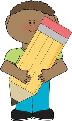 Author clipart pencil. Boy holding a big