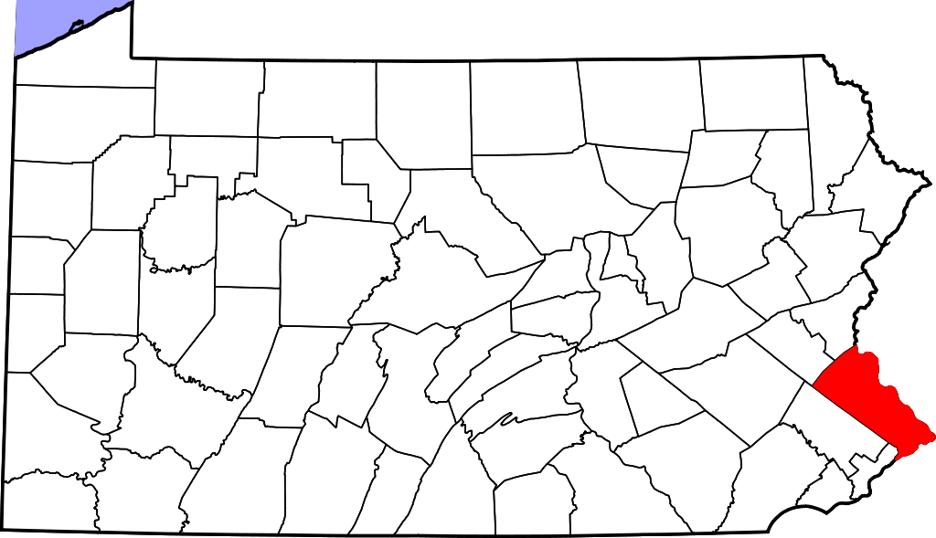 Autistic drawing map design. Bucks county located on