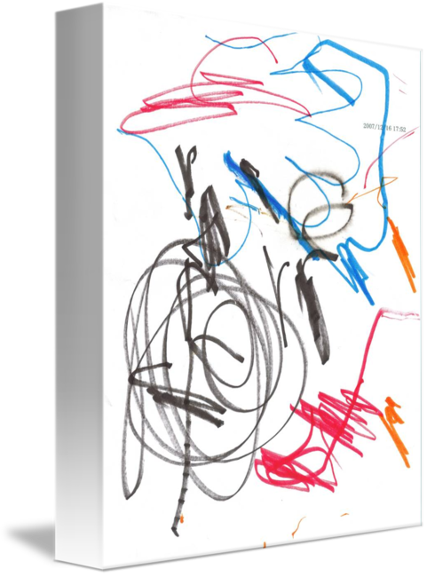Autistic drawing pen. Black red blue and