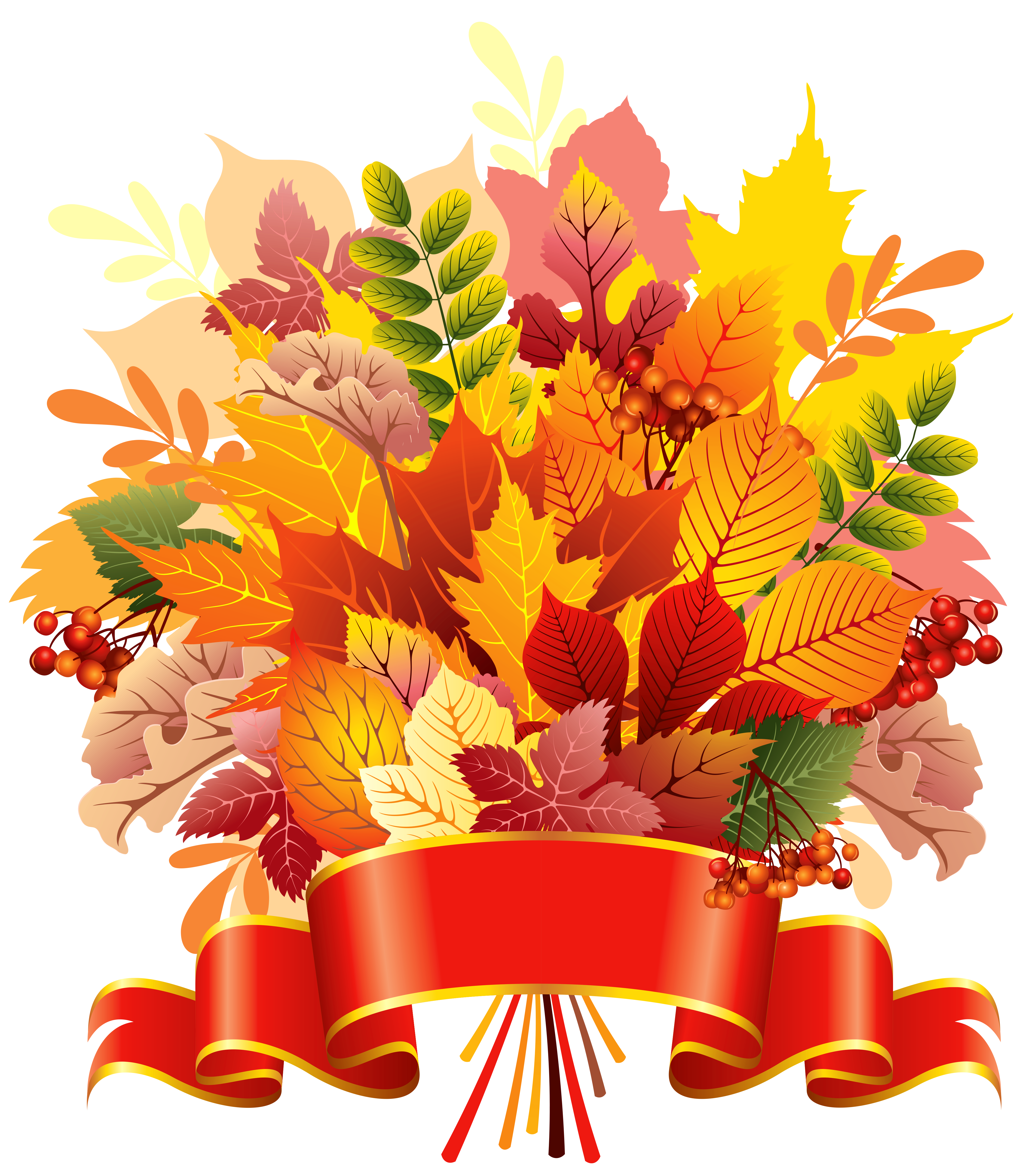 Autumn banner png. Leaves bouquet with clipart