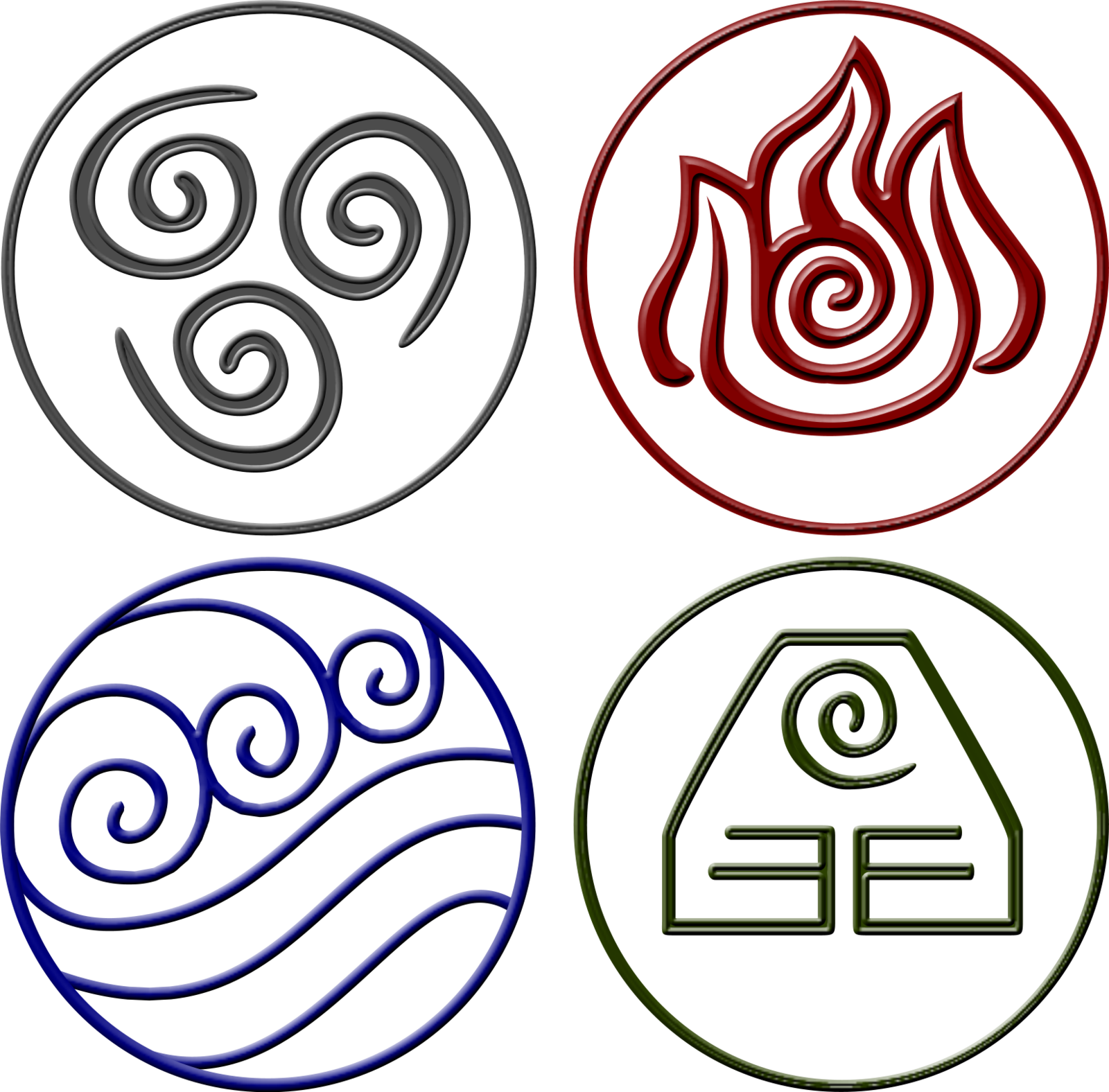 Avatar symbols png. Four elements displaying images