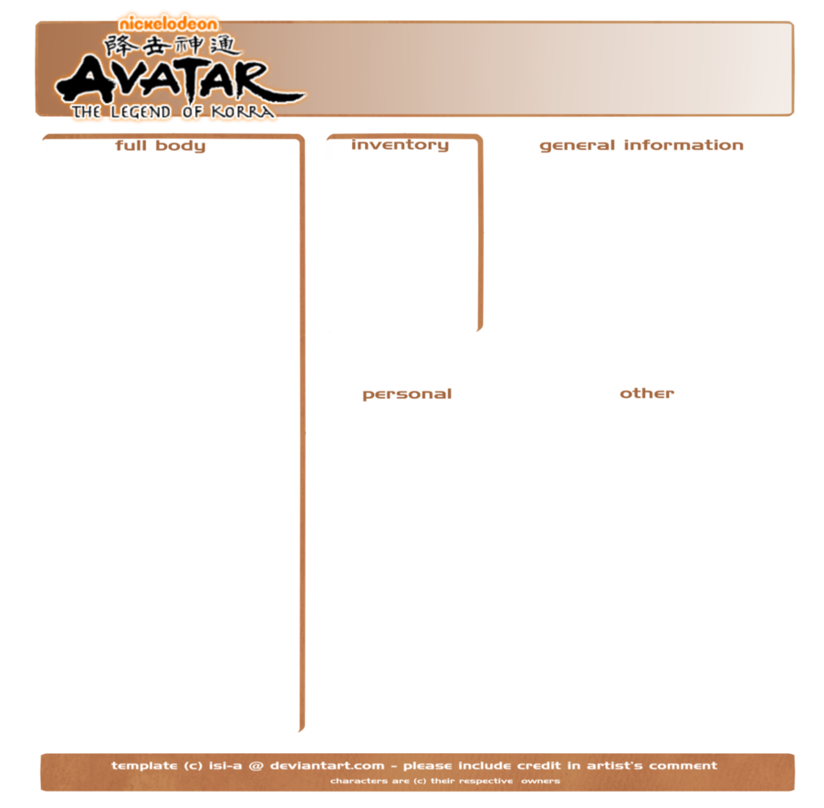 Avatar template png. Lok character by isi