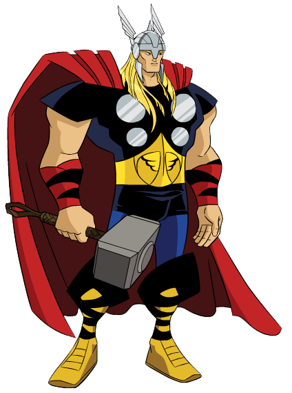 Thor vector comic. Avengers earth mightiest heroes
