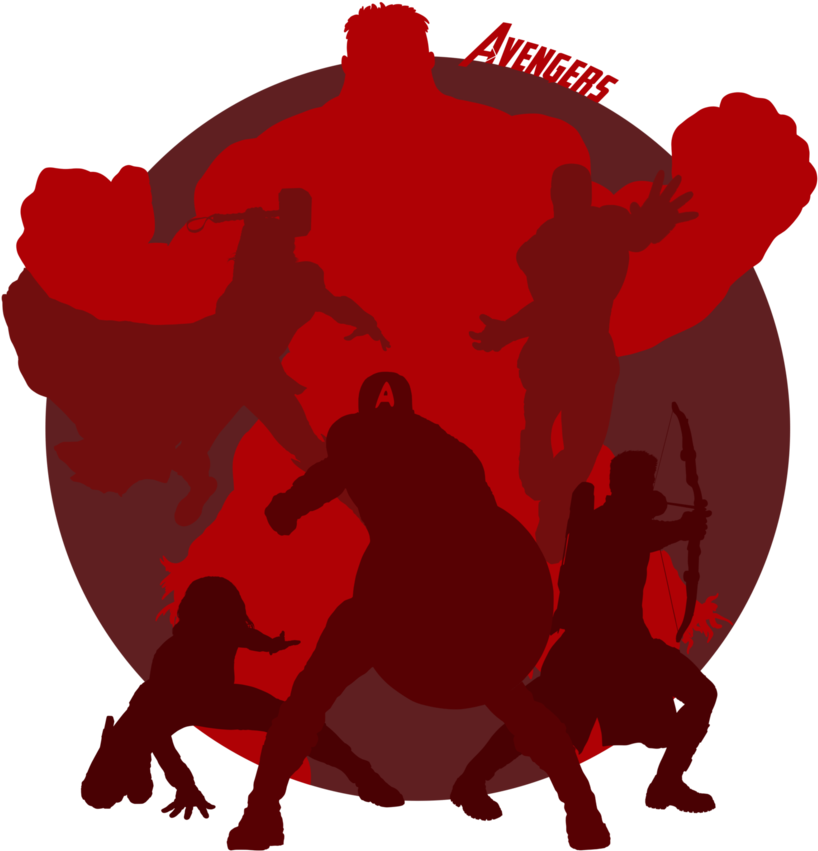 Avengers clipart silhouette. By davemilburn on deviantart