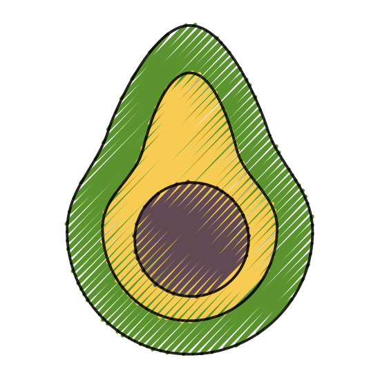 Avocado clipart fresh. Delicious and icons by