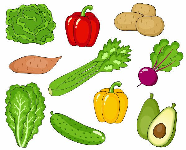 Avocado clipart green veggy. Vegetables clip art cute