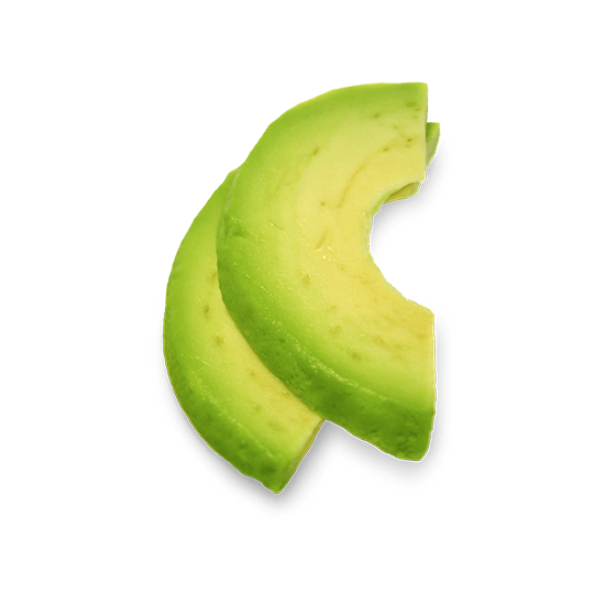 transparent avocado sliced