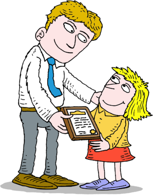 Award clipart certificate. Image adult giving child