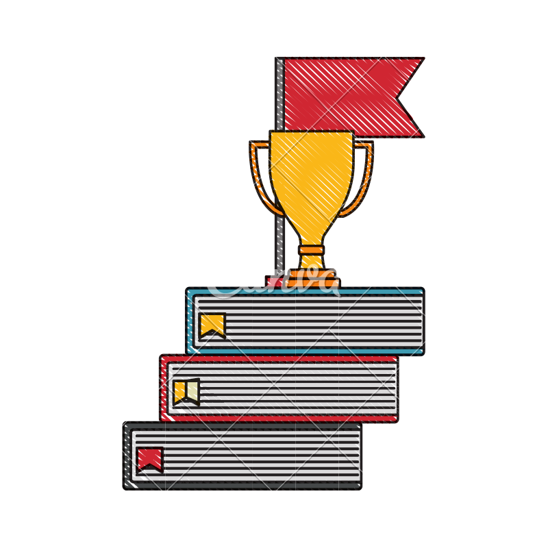 Award transparent drawing. Business trophy cup on