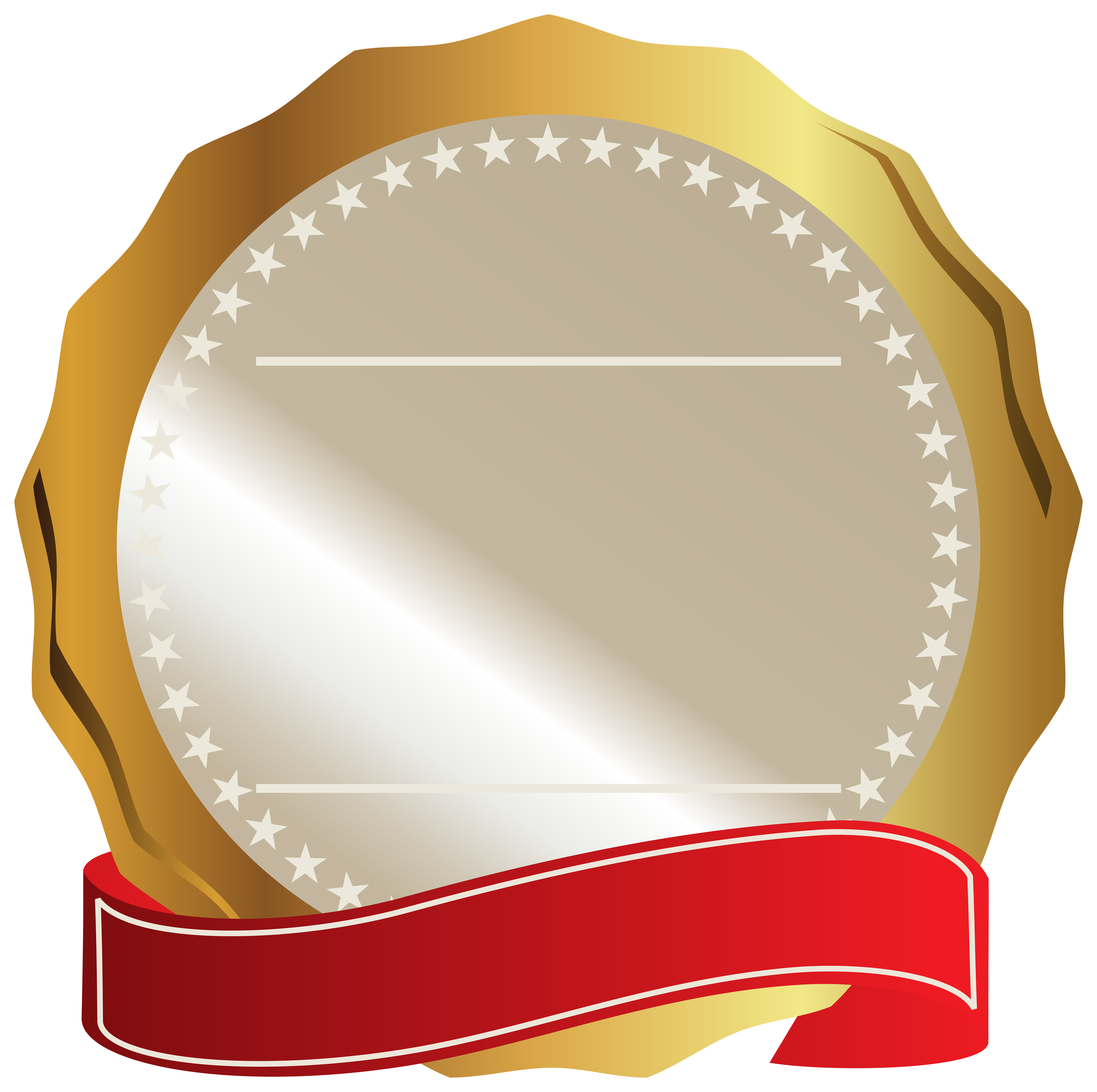 Labels vector gold. Seal with red ribbon