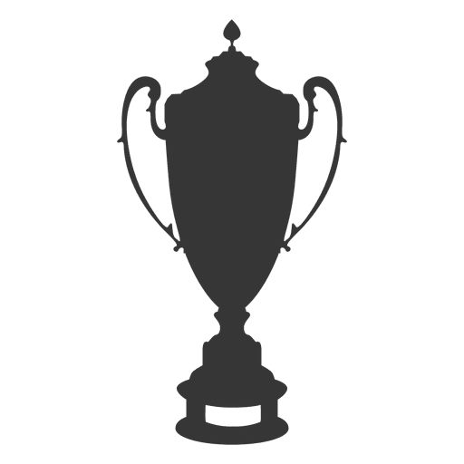 Trophy cup transparent png. Vector award silhouette image black and white