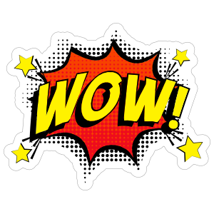 Wow sticker png. Awesome comic
