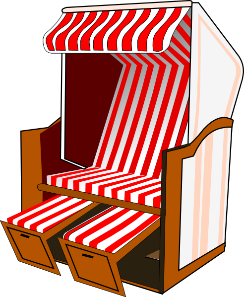 Awning vector clip art. Beach chair with striped