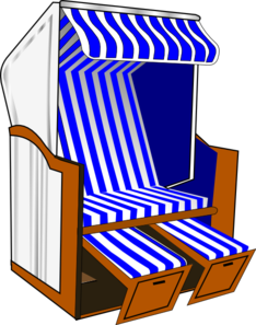 Awning vector clip art. Beach chair with blue