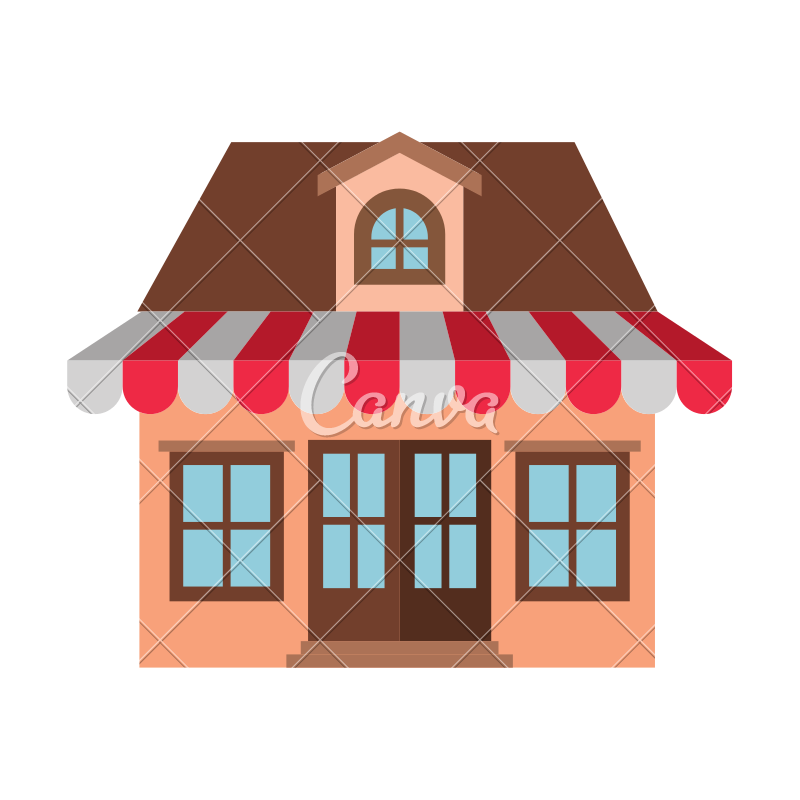 Awning vector roof. Store with and attic