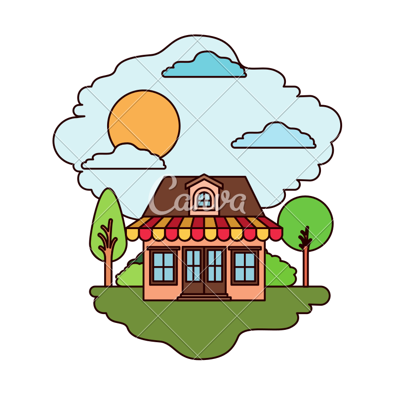Awning vector cartoon. Natural landscape and store