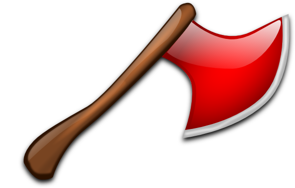 Ax drawing wooden axe. Red clip art at