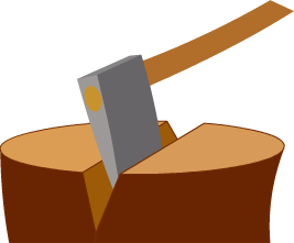 Ax drawing wedge. Examples the axe or
