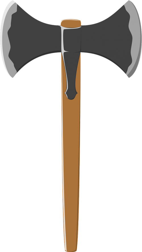 Ax vector medieval. Battle axe weapon labrys