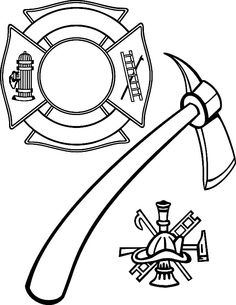 Firefighter coloring pinterest worksheets. Axe clipart colouring page clip art black and white library