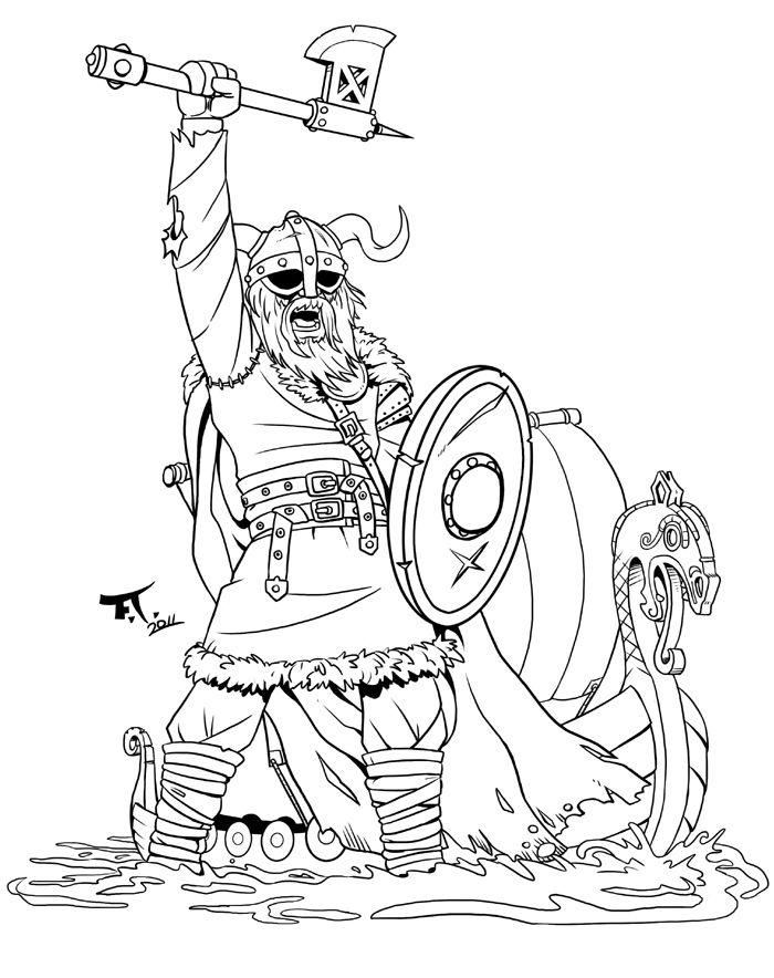 Viking warrior by boat. Axe clipart colouring page clip art freeuse library