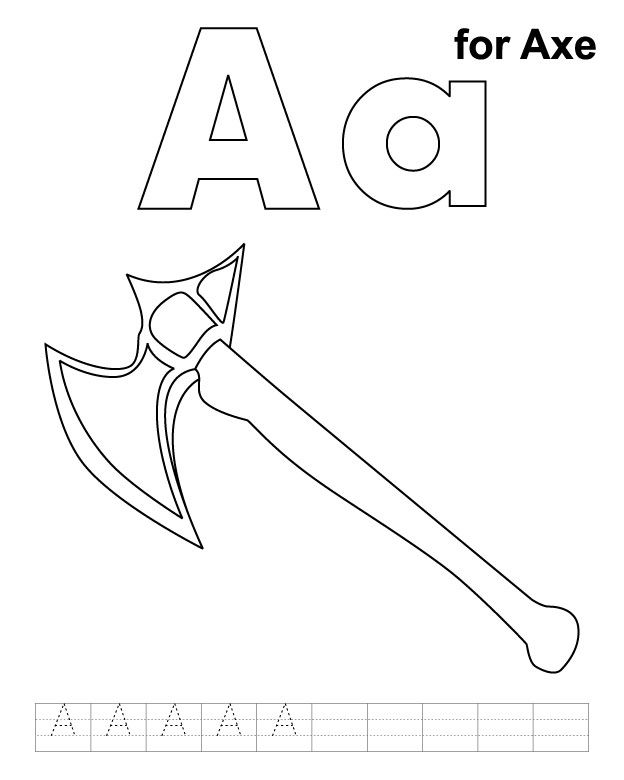 A for coloring with. Axe clipart colouring page clip transparent library