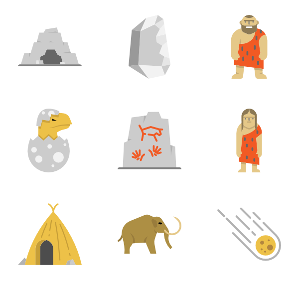 Boulder vector pile rock. Stone age icons free