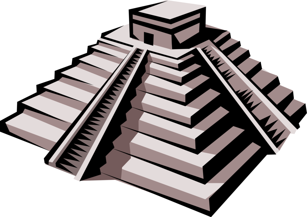 Transparent pyramid vector. Mayan aztec or inca