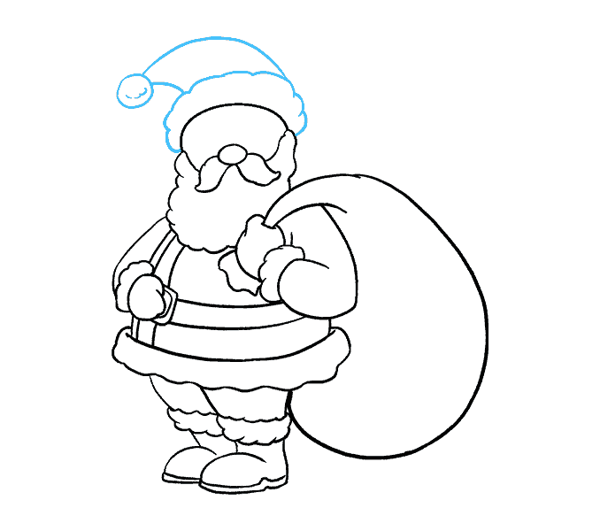 Drawing shorts outline. How to draw santa