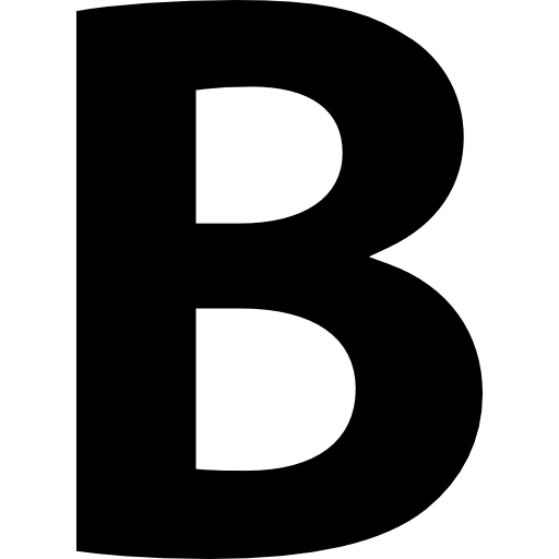 B drawing bold letter. Button of symbol free