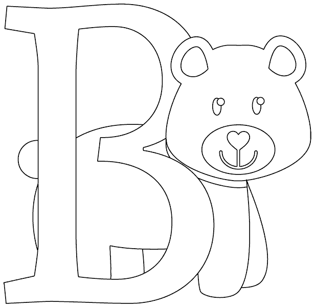 B drawing coloring page. Is for bear com