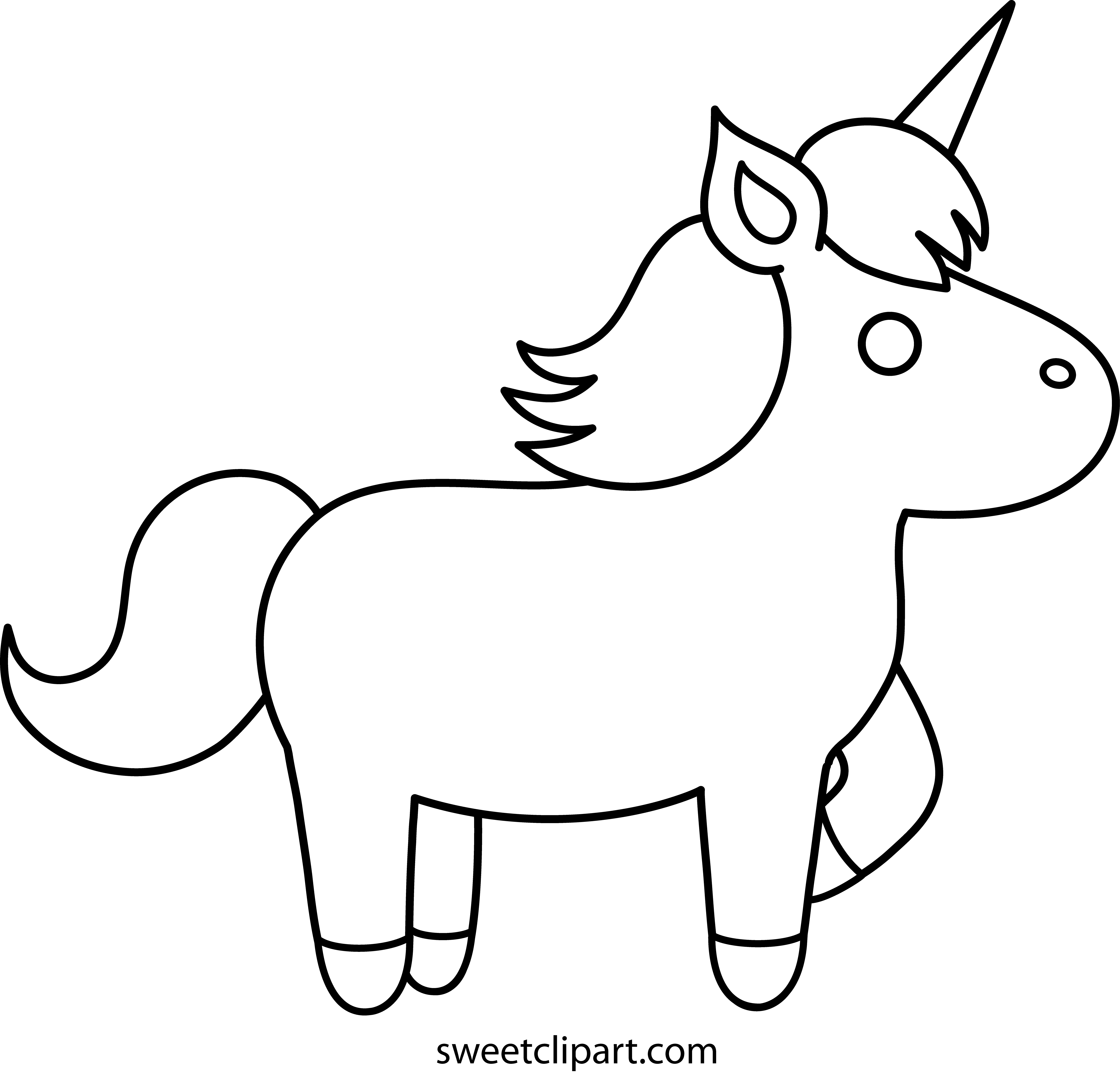Easy unicorn coloring pages. G drawing simple png free