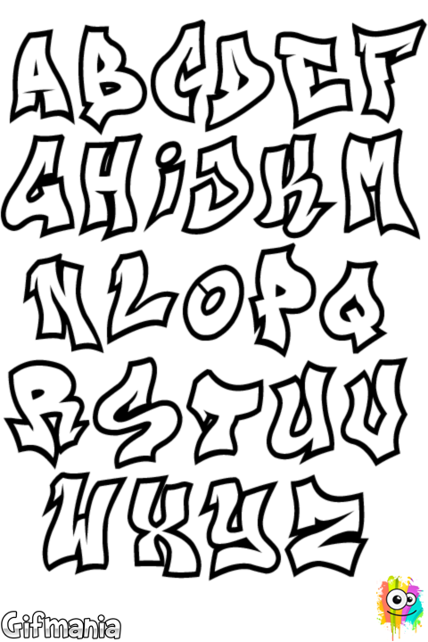 Drawing alphabets graffiti. Difficult color by number