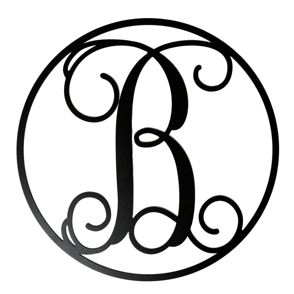 B drawing monogram. Letters circle initial letter