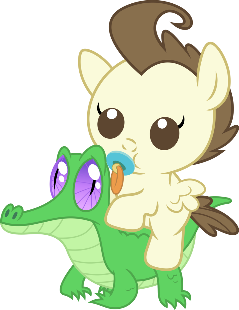Baby alligator png. A pony rides by