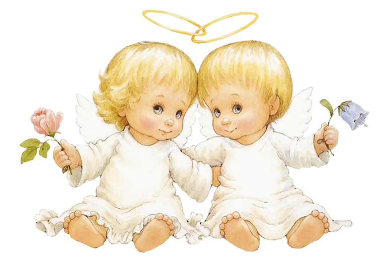 Angel baby png. Two angels with flowers