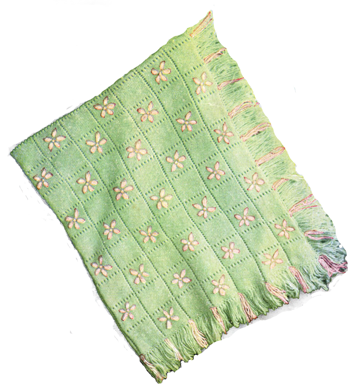 Baby blanket png. Knitted with embroidery pattern