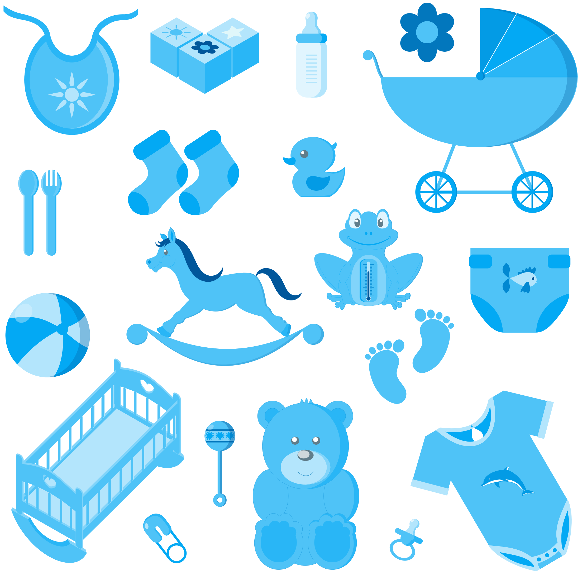Accessories no background icons. Baby boy png svg stock