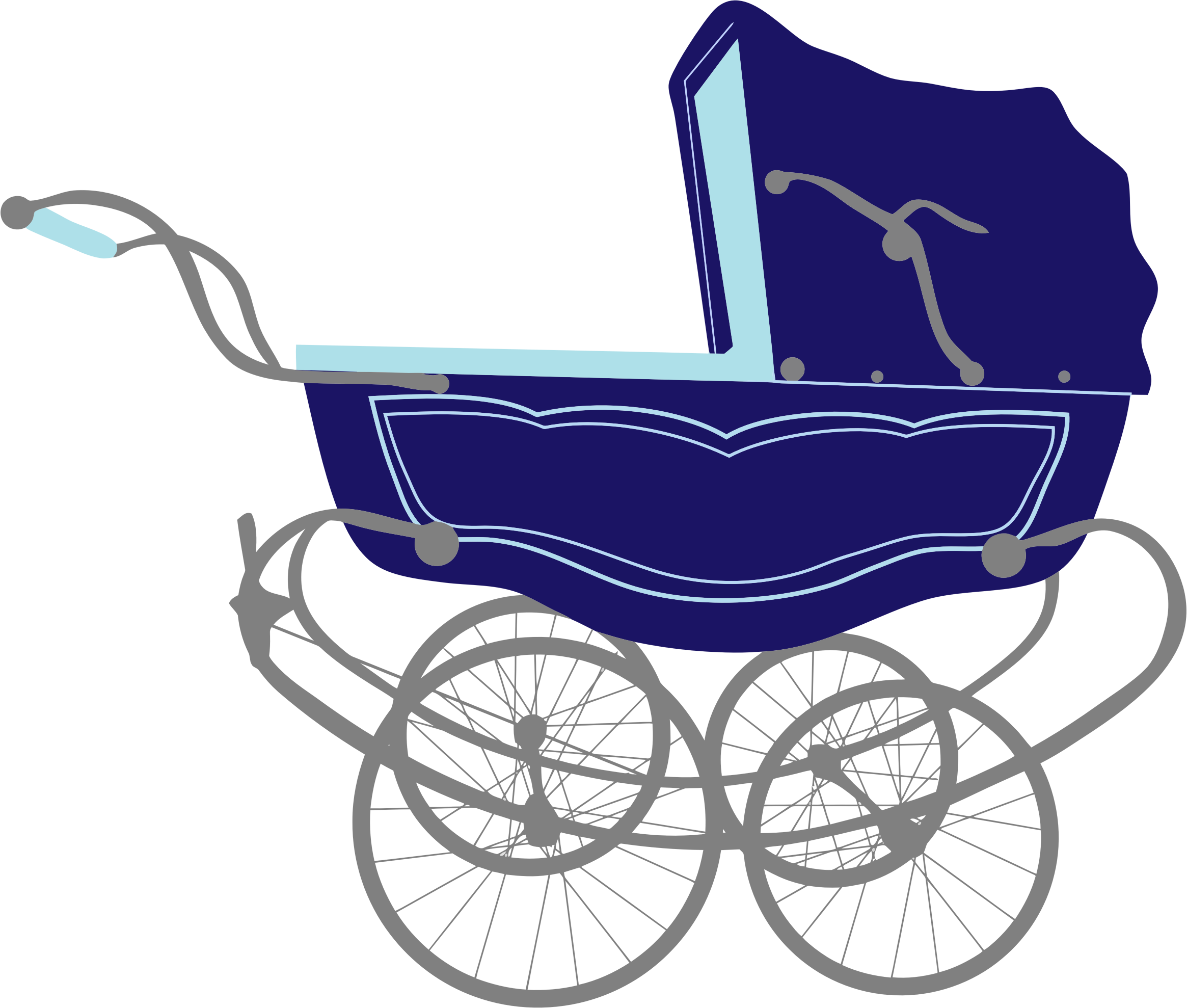 Baby carriage png. Vintage blue stroller icons