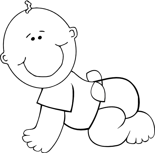 Little clipart crawling. Free baby outline download