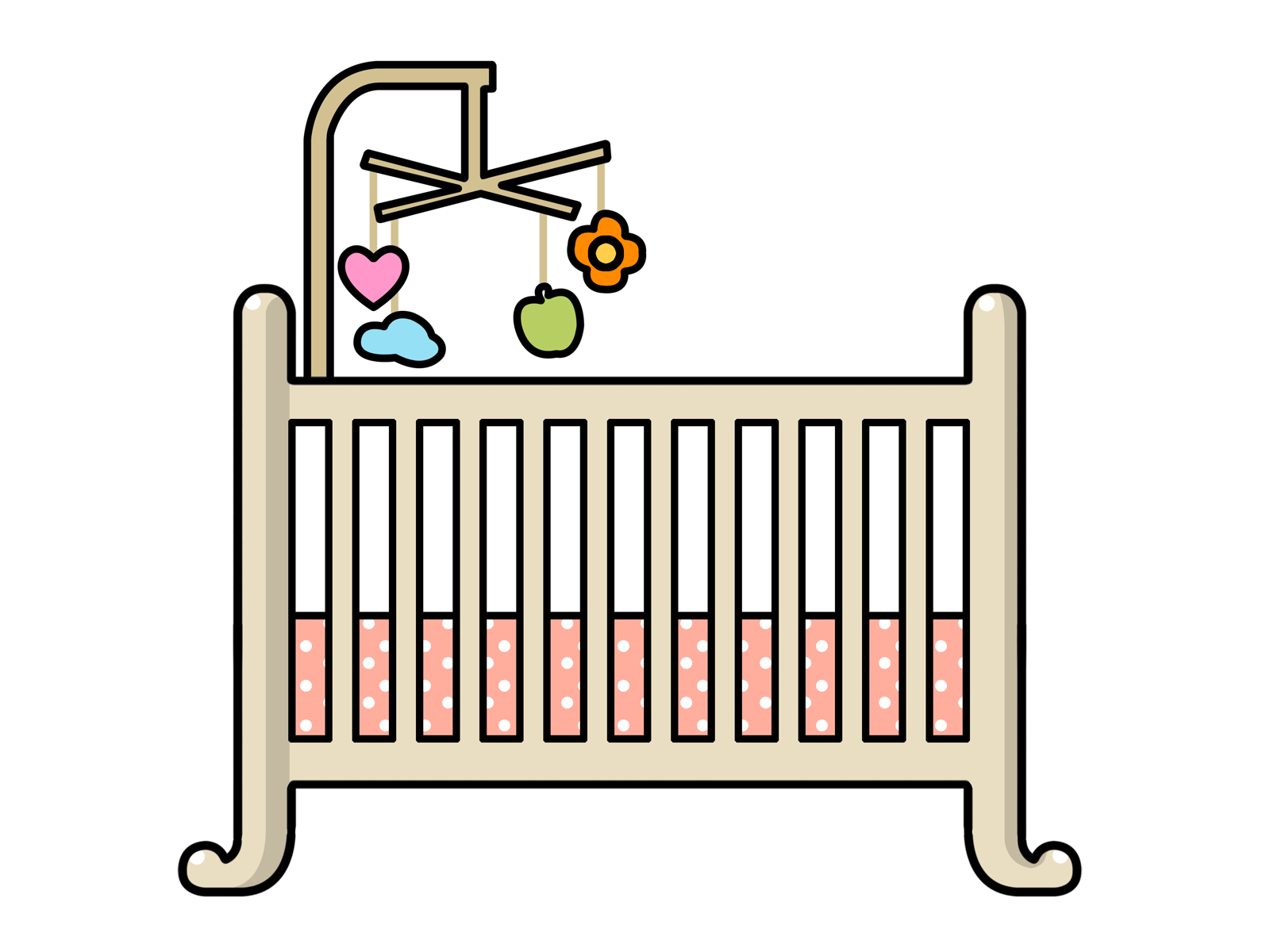 Crib drawing. Baby bed clipart